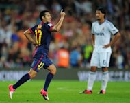 Barcelona's forward Pedro Rodriguez celebrates after scoring a goal against Real Madrid on August 23, 2012 at the Camp Nou stadium in Barcelona