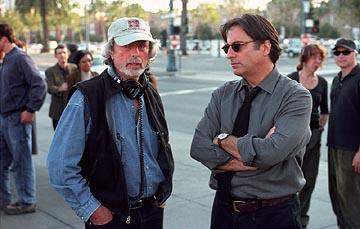 Director Philip Kaufman and Andy Garcia on the set of Paramount's Twisted