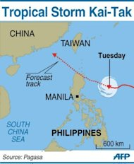 <p>Map showing the path of Tropical Storm Kai-Tak</p>