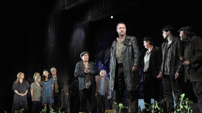 """This undated theater image released by Lincoln Center Festival shows the cast  in a scene from """"Famine,"""" part three of the """"DruidMurphy"""" cycle, three plays by Tom Murphy presented by the Druid Theatre Company performing as part of the Lincoln Center Festival at the Gerald W. Lynch Theater at John Jay College in New York.  (AP Photo/Lincoln Center Festival; Stephanie Berger."""