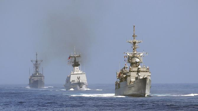 A Knox-class frigate, Lafayette-frigate and Cheng-kung class frigate sail during the Han Kuang military exercise held about 10 nautical miles eastern of the port of Hualien