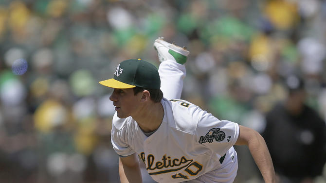 Oakland Athletics pitcher Chris Bassitt works against the Houston Astros in the fifth inning of a baseball game Saturday, April 25, 2015, in Oakland, Calif. (AP Photo/Ben Margot)