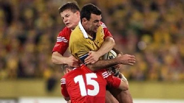 Joe Roff, centre, playing against the British and Irish Lions back in 2001