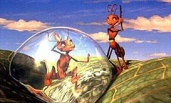 Bala ( Sharon Stone ) tries to free Z ( Woody Allen ) from a dewdrop in Antz