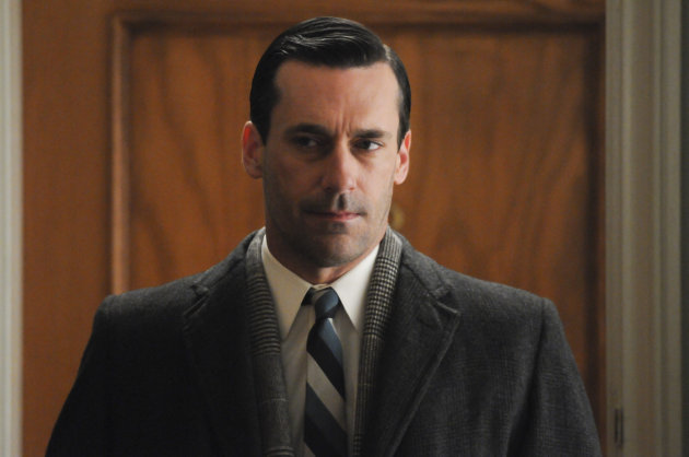 "This undated image released by AMC shows Jon Hamm as Don Draper in a scene from Season 5 of ""Mad Men."" AMC announced Wednesday, Jan. 23, 2013, that a two-hour premiere will kick off the acclaimed drama series' sixth season on April 7. (AP Photo/AMC, Michael Yarish)"