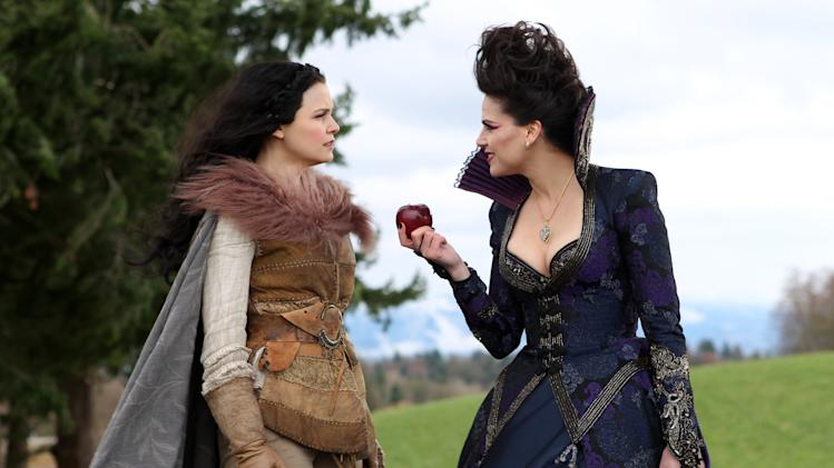 "In this publicity photo provided by ABC, actresses, Ginnifer Goodwin, left, and Lana Parrilla, are shown in a scene from ABC's ""Once Upon a Time,"" Sunday, May 6, on the ABC Television Network. (AP Photo/ABC, Jack Rowand)"