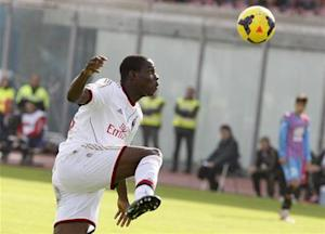 AC Milan's Balotelli controls the ball during the Italian Serie A soccer match against Catania at Massimino stadium in Catania