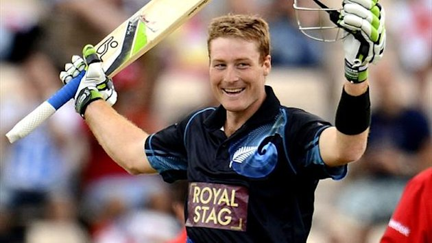 New Zealand batsman Martin Guptill scores a second successive century against England at the Rose Bowl (Reuters)