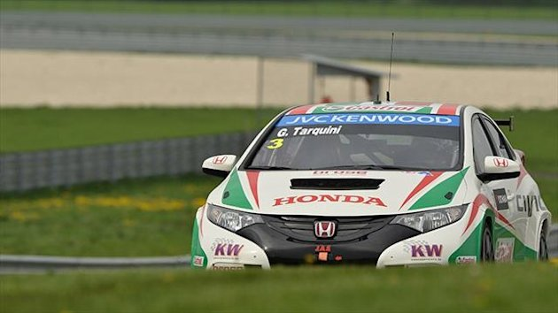 Gabriele Tarquini and his Castrol Honda Team Civic set the fastest time in the second Free Practice in Slovakia.