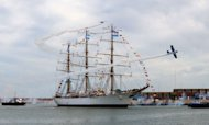 Argentina's frigate Libertad arrives in Mar del Plata, Argentina, on January 9, 2013. Argentina greeted the arrival Wednesday of a three-masted navy frigate that was caught up in a debt tussle stemming from the country's economic collapse a decade ago