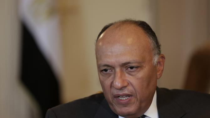 """Egyptian Foreign Minister Sameh Shukri speaks during an interview with the Associated Press, Thursday, July 17, 2014 in Cairo, Egypt. Shukri says Egypt's proposal for a cease-fire between Israel and Gaza is gaining momentum, and that it is the only viable way to stop an """"intolerable humanitarian situation.""""(AP Photo/Maya Alleruzzo)"""