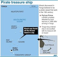 Graphic map of Tonga locating the area where divers discovered a wreck believed to be a pirate vessel that sank in the 19th century