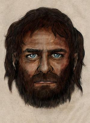 In this undated photo provided by the Spanish National Research Council (CSIC), a drawing depicting how a hunter-gatherer who lived in Europe some 7,000 years ago who had blue eyes and dark skin, a combination that has largely disappeared from the continent in the millennia since, might have looked like according to scientists on Tuesday, Jan. 28. 2013. The discovery, published in the journal Nature this week, was made by scientists from the United States, Europe and Australia who analyzed ancient DNA extracted from a male tooth found in a cave in northern Spain. (AP Photo/CSIC)