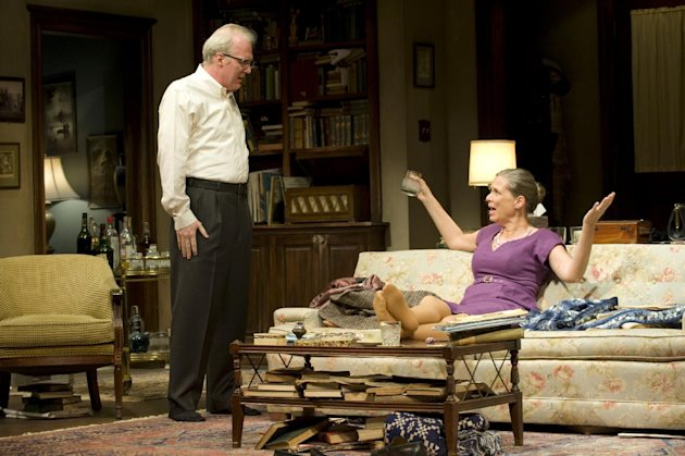 This theater image released by Jeffrey Richards Associates shows, Tracy Letts, left, and Amy Morton during a performance of Edward Albee's Who's Afraid of Virginia Woolf, opening Oct. 13, 2012 at the Booth Theatre in New York. (AP Photo/Jeffrey Richards Associates, Michael Brosilow)