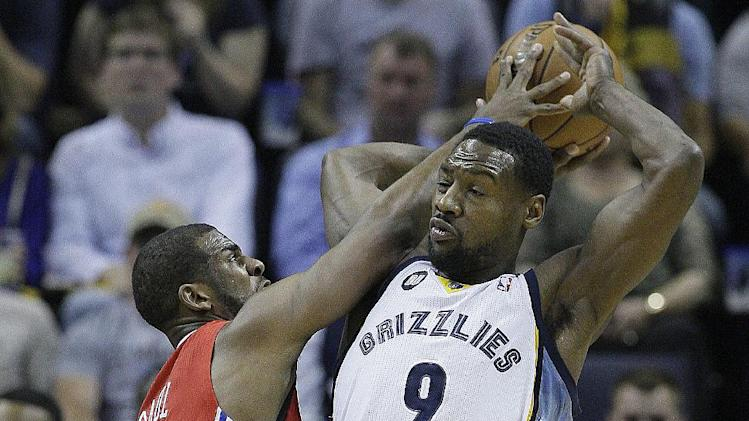 Memphis Grizzlies guard Tony Allen (9) and Los Angeles Clippers guard Chris Paul (3) vie for the ball during the first half of Game 3 in a first-round NBA basketball playoff series, in Memphis, Tenn., Thursday, April 25, 2013. (AP Photo/Danny Johnston)