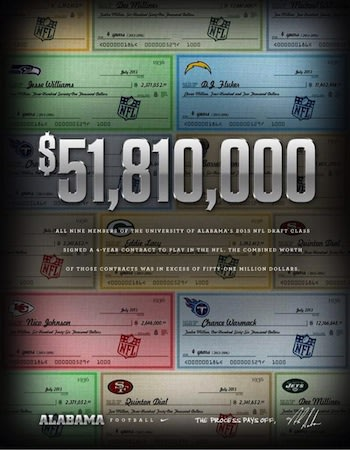 This leaflet proudly proclaims the aggregate earnings of Alabama's NFL draftees — Alabama Football