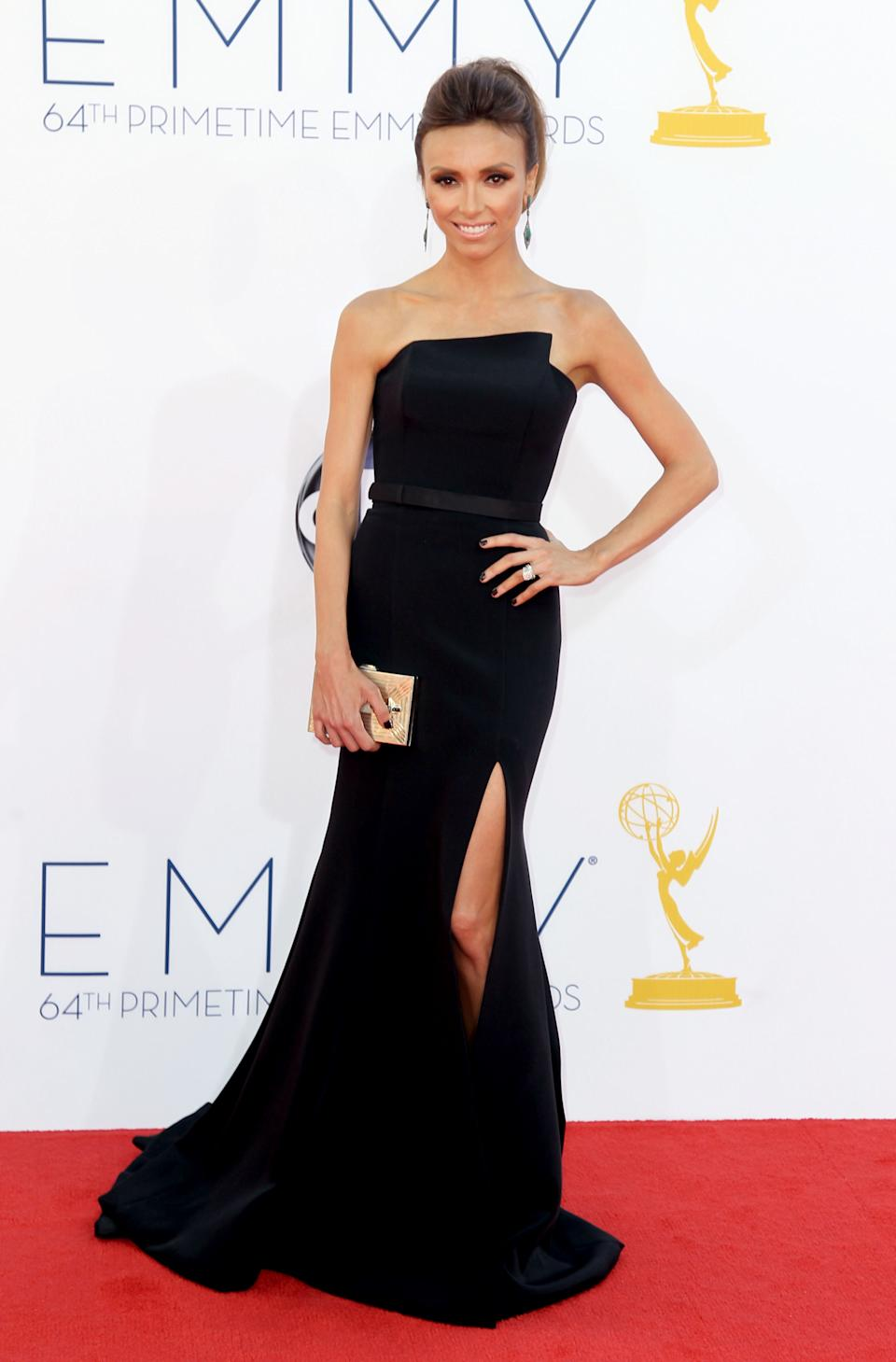 Giuliana Rancic arrives at the 64th Primetime Emmy Awards at the Nokia Theatre on Sunday, Sept. 23, 2012, in Los Angeles. (Photo by Matt Sayles/Invision/AP)