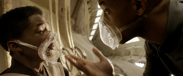 Jaden Smith and Will Smith in 'After Earth'