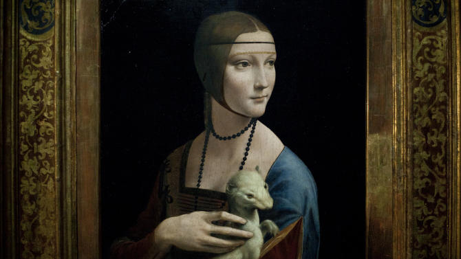 """The painting """"Lady with an Ermine"""" by Leonardo da Vinci is seen at the exhibition Renaissance Faces in Berlin, Wednesday, Aug. 24, 2011. Berlin's Bode Museum is presenting the exhibition of early Italian Renaissance portraits, produced in collaboration with New York's Metropolitan Museum of Art, until Nov. 20, 2011. The painting Lady with an Ermine borrowed by the Czartoryski Museum in Krakow will stay in Berlin until Oct. 31, and will move further to London for a Leonardo da Vinci exhibition. (Photo/Markus Schreiber)"""