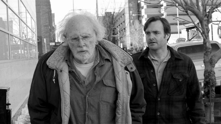 "This image released by Paramount Pictures shows Bruce Dern as Woody Grant, left, and Will Forte as David Grant in a scene from the film ""Nebraska,"" about a booze-addled father who makes to Nebraska with his estranged son in order to claim a million dollar Mega Sweepstakes Marketing prize. (AP Photo/Paramount Pictures)"