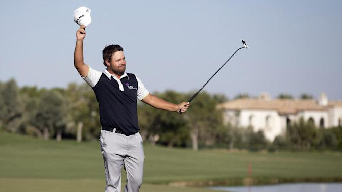 Ryan Moore reacts after sinking a putt for par on the 18th hole to win the Justin Timberlake Shriners Hospitals for Children Open golf tournament on Sunday, Oct. 7, 2012, in Las Vegas. (AP Photo/Julie Jacobson)