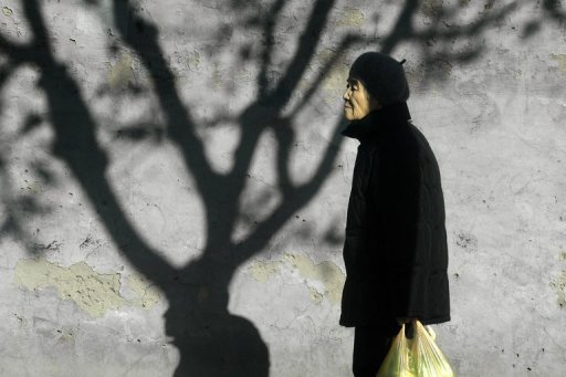 An elderly woman is pictured in Beijing, on November 26, 2012. China has passed a new law stipulating that family members should pay regular visits to their elderly relatives, according to the government's official website.