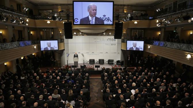 US Vice President Joe Biden  delivers his speech at the International  Security Conference in Munich, southern Germany,  Saturday, Feb. 2, 2013. (AP Photo/Matthias Schrader)