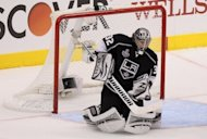Los Angeles Kings goaltender Jonathan Quick makes a save during game 3 of their NHL Stanley Cup Final playoffs on June 4. The Devils controlled the play in the first period but Quick blunted their attack, making key saves at the right time