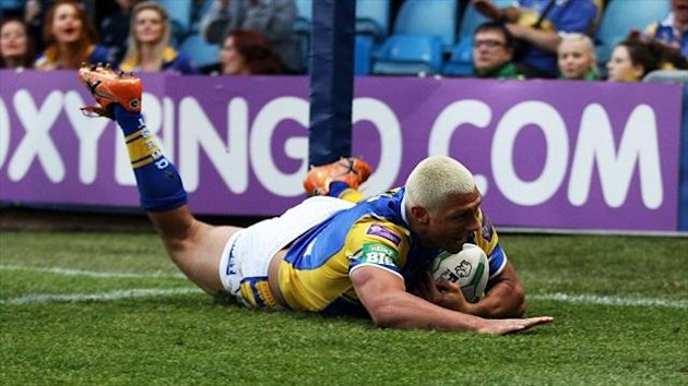 Ryan Hall touches down for one of his two tries in Leeds' victory