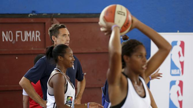 Former NBA star Steve Nash attends a training session with a Cuban women's national basketball team in Havana