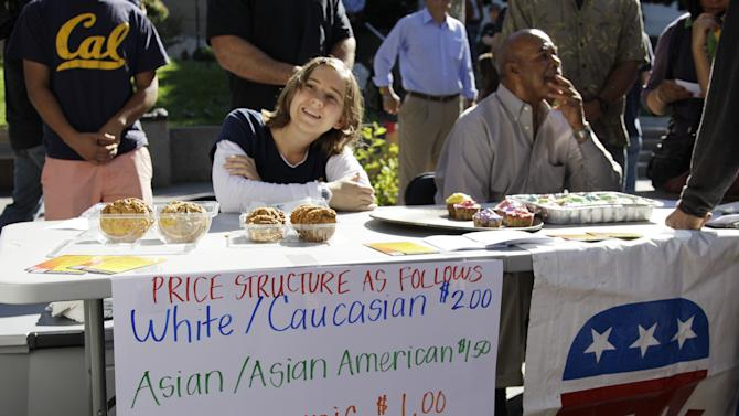 "A student who identified herself as 'Hannah"" sells baked goods during a bake sale led by the Berkeley College Republicans Tuesday, Sept. 27, 2011, at the University of California campus in Berkeley, Calif. The Berkeley College Republicans have scheduled a bake sale where the price of a cookie or a brownie depends on your gender and the color of your skin. The price of a baked good costs $2 for white people, $1.50 if you're Asian, $1 for Latinos, 75 cents for African-Americans and 25 cents for Native Americans. Women get a discount of 25 cents. (AP Photo/Ben Margot)"