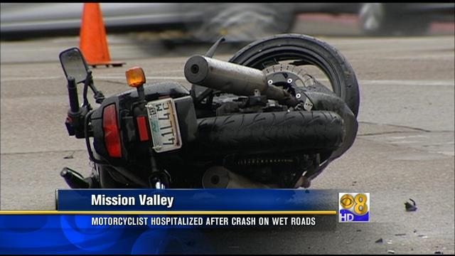 Motorcyclist hospitalized after crash on wet roads