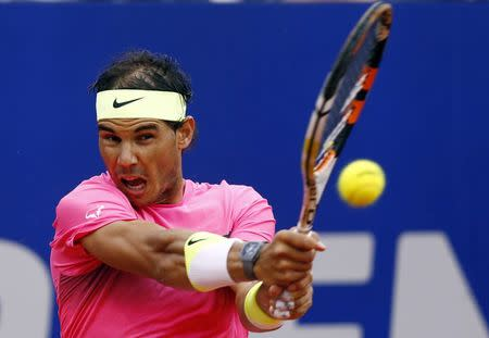 Spain's Rafael Nadal plays a shot during the final tennis match against Argentina's Juan Monaco at the ATP Argentina Open in Buenos Aires