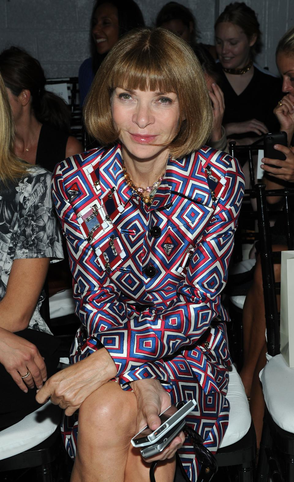 Anna Wintour attends the Jason Wu spring 2013 show, Friday, Sept. 7, 2012 in New York. (Photo by Diane Bondareff/Invision/AP)