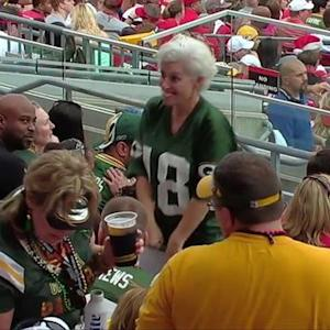 Green Bay Packers fan outdances announcer