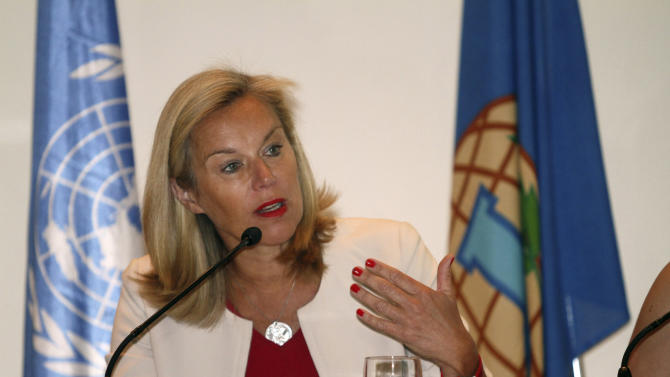 """Sigrid Kaag of the Organization for the Prohibition of Chemical Weapons speaks during a press conference in Damascus, Syria on Sunday, April 27, 2014. Kaag told reporters in Damascus that 92.5 percent of Syria's chemical materials had been removed from the country and destroyed. She described it as """"significant progress,"""" though she says the government needs to ensure the remaining materials are eradicated by the end of the month. (AP/Photo)"""