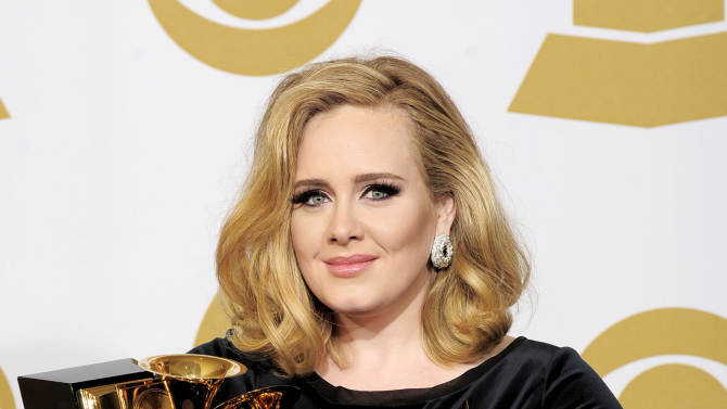 """FILE - In this Feb. 12, 2012 file photo, Adele poses backstage with her six awards at the 54th annual Grammy Awards in Los Angeles. Adele won awards for best pop solo performance for """"Someone Like You,"""" song of the year, record of the year, and best short form music video for """"Rolling in the Deep,"""" and album of the year and best pop vocal album for """"21."""" After a year of Grammy glory and James Bond soundtracking, Adele has been voted The Associated Press Entertainer of the Year. (AP Photo/Mark J. Terrill, File)"""