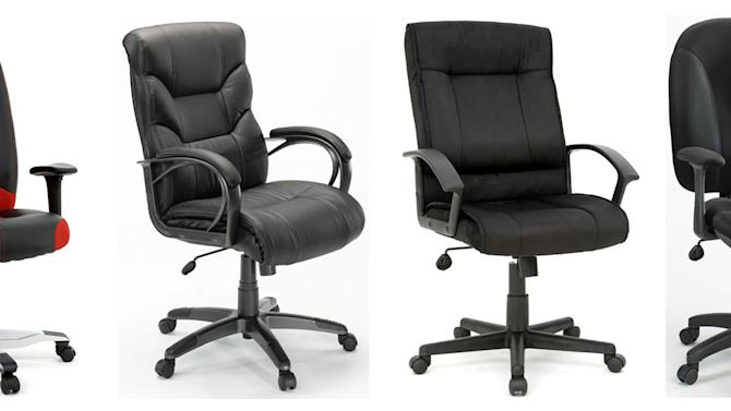 This photo combo of images provided by the U.S. Consumer Product Safety Commission and Health Canada shows Gruga Office Chairs that are being recalled because the seat plate can break, posing a fall hazard to consumers. From left are the: Entertainment Chair; Executive Chair; Manager's Chair and Task Chair. The chairs are imported by the Sauder Woodworking Company, of Archbold, Ohio. (AP Photo/U.S. Consumer Product Safety Commission and Health Canada)