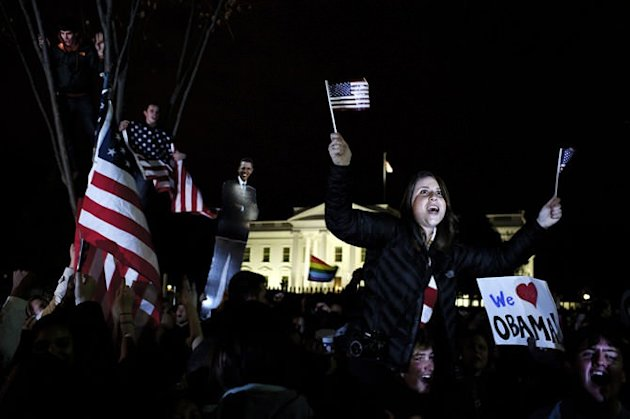 (People celebrate in front of the White House upon the announcement of Obama's re-election. Credit: mattrosephotography.net)