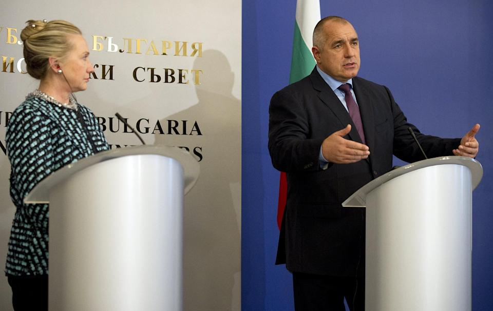 US Secretary of State Hillary Rodam Clinton and  Bulgarian Prime Minister Boyko Borissov  attend a press conference at the Council of Ministers building  in Sofia, Bulgaria, Sunday Feb. 5, 2012. (AP Photo/Jim Watson,  Pool)