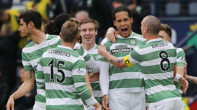 Football: Celtic's Virgil van Dijk celebrates scoring their first goal