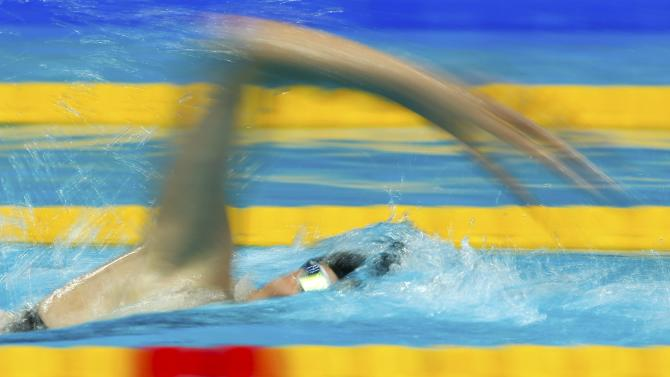 Britain's Carlin competes in the women's 400m freestyle heats at the Aquatics World Championships in Kazan