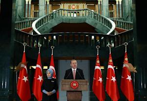 Turkish President Recep Tayyip Erdogan speaks during…