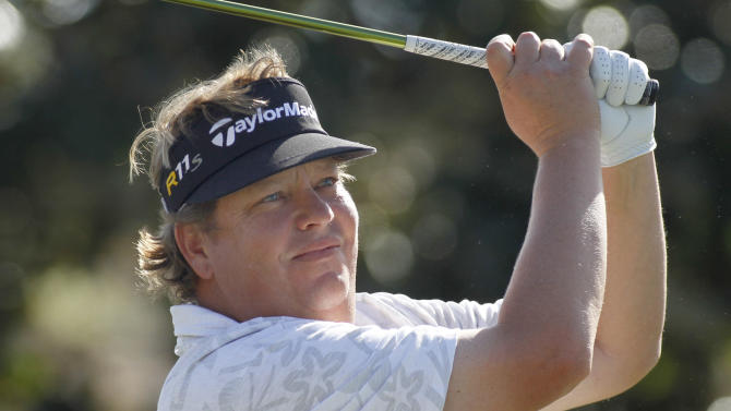 Tim Herron hits his tee shot on the first hole during the final round of the Children's Miracle Network Hospitals golf tournament in Lake Buena Vista, Fla., Sunday, Nov. 11, 2012. (AP Photo/Reinhold Matay)