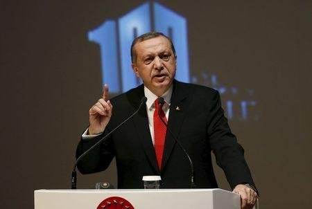 Turkey's President Erdogan makes a speech during a Peace Summit ahead of the 100th anniversary of the Battle of Gallipoli, in Istanbul