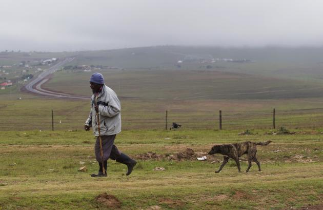 A man walks with his dog in Qunu, the ancestral home of late former South African President Nelson Mandela