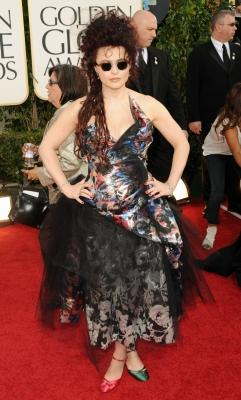 Helena Bonham Carter rocks unmatching shoes at the 68th Annual Golden Globe Awards held at The Beverly Hilton hotel in Beverly Hills on January 16, 2011 -- Getty Images