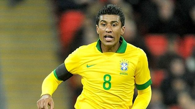 Paulinho in action for Brazil