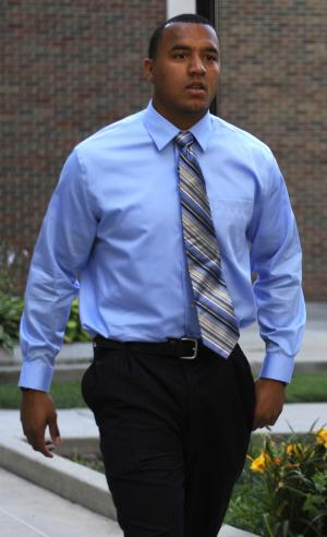 Suspended Notre Dame wide receiver Michael Floyd arrives at court in South Bend, Ind., Wednesday June 29, 2011.  Floyd was sentenced to a year of probation and can't drive for 90 days after pleading guilty to a misdemeanor drunken driving charge. A St. Joseph County magistrate gave Floyd a one-year prison sentence that was suspended. He also ordered that after Floyd gets his license back, he will have a device installed in his car for 180 days that will prevent it from starting if his blood-alcohol level is too high. (AP Photo/Joe Raymond)