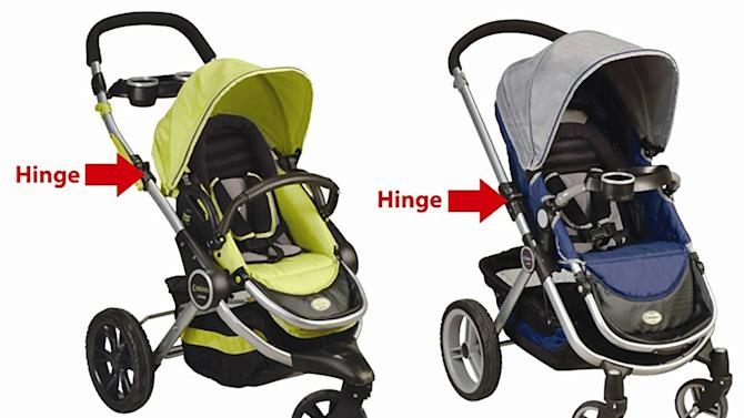 This photo provided by the U.S. Consumer Product Safety Commission shows Contours Options three- and four-wheeled strollers, manufactured by Kolcraft Enterprises Inc., of Chicago, that are being recalled because a child or consumer's finger can become caught in the opening formed when locking and unlocking the hinge mechanism which is used to adjust the handlebars on the strollers. This presents an amputation and laceration hazard to children and the adults handling the stroller. (AP Photo/U.S. Consumer Product Safety Commission)